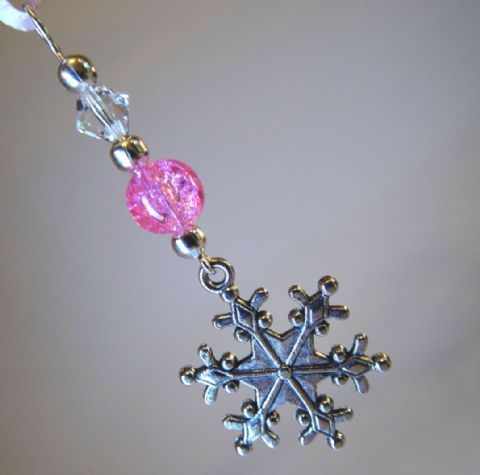 Silver Snowflake, Pink Crackle Bead & Crystal - Xmas Tree Decoration